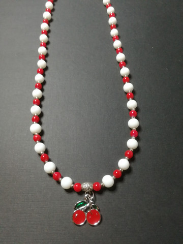 Candy striped cherry necklace