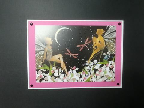 Handmade card fairies and moon