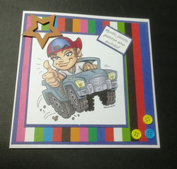 Handmade card boy with car