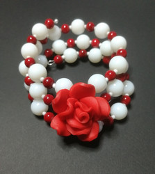 Red and white Memory Wire Bracelet with rose