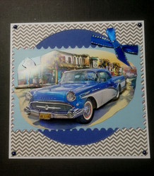 Blue american car card