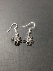 Silver colour spider earrings