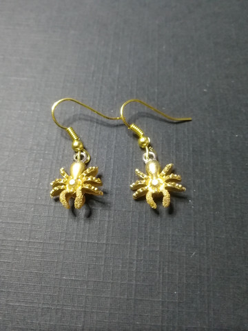 Gold colour spider earrings