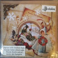 Joulukortti vintage pukki ja tyttö