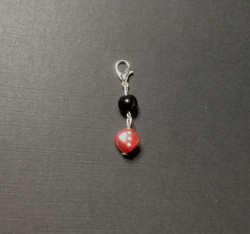 Red die collar charm