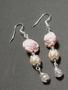 Light pink high flower earrings