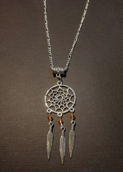 Dreamcatcher necklace with brown beads