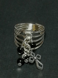 Cross ring with black beads