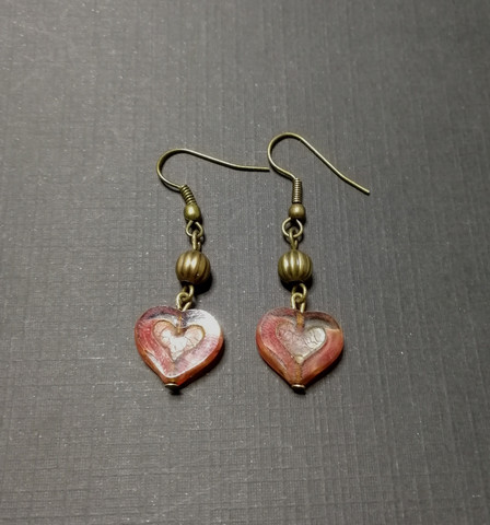 Red heart earrings with bronze beads