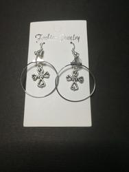 Cross in a ring earrings