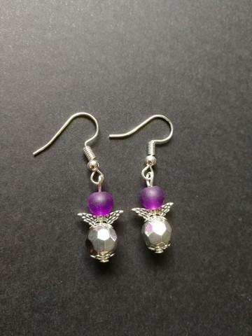 Angel earrings violet/silver