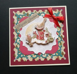 Christmas Card with tiny birds and a watering can