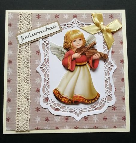 Christmas Card angel and her violin