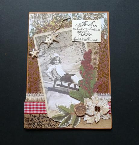 Christmas Card vintage sled brown