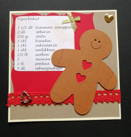 Christmas Card Ginger Bread Recipe with Red Lace