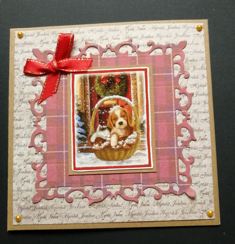 Christmas Card Puppy Basket