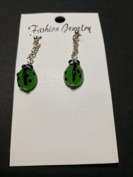 Green Ladybug Earrings