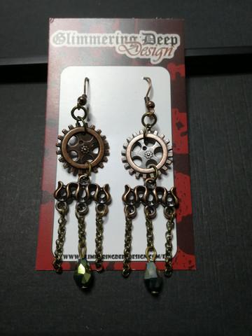 Hanging gear earrings