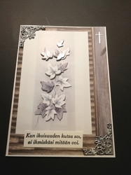 Mourning card leaves, silver