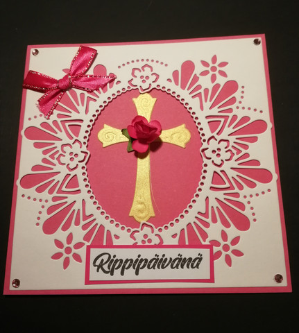 Handmade pink confirmation day and flower
