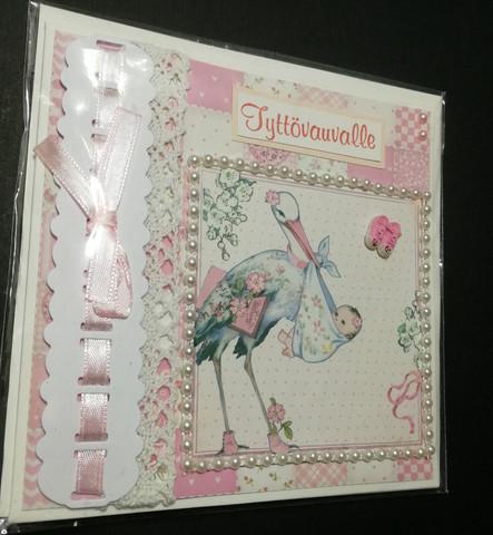 Kortti kastepäivänä haikara vaaleanpunainen