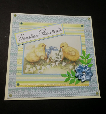 Handmade card easter chick blue
