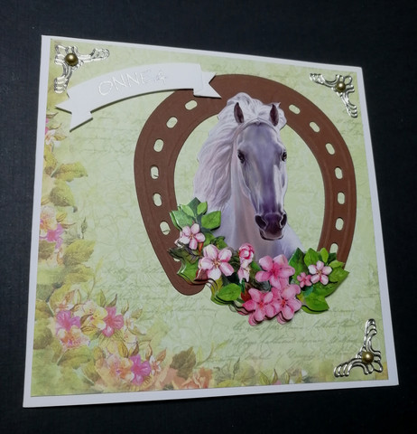 Handmade horse and horse shoe card