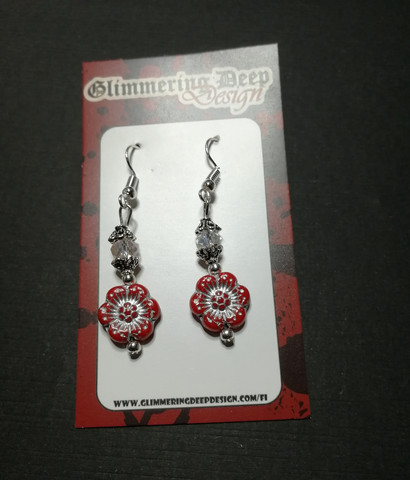 Red and silver colour flower earrings