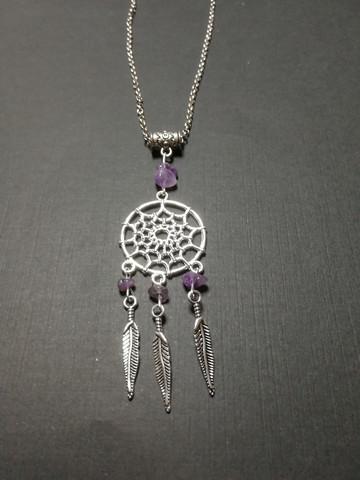 Dreamcatcher necklace with purple stones