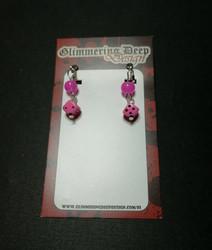 Pink Dice Clip Earrings