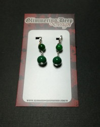 Green Ball Clip Earrings
