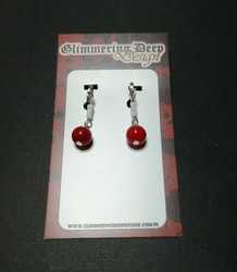 Red Ball Clip Earrings