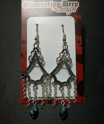 Hanging Earrings with chains and droplets.