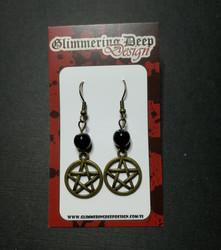 Pentagram earrings with black beads