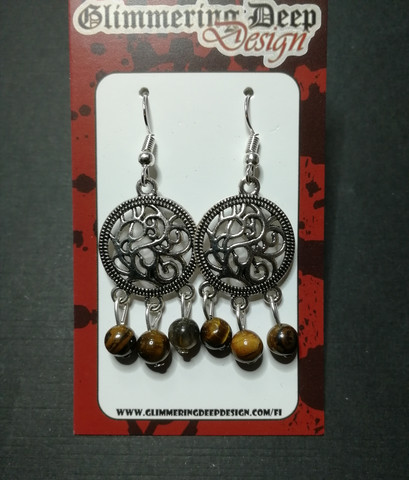 Earrings with tiger's eye beads