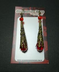 Red medieval earrings