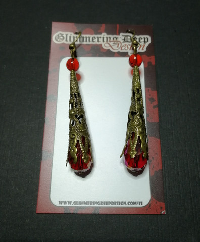 Red medieval earrings