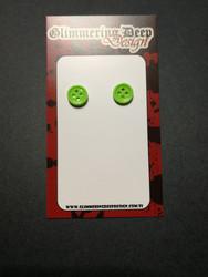 Green Button Stud Earrings