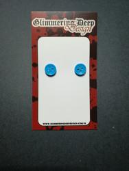 Blue Button Stud Earrings