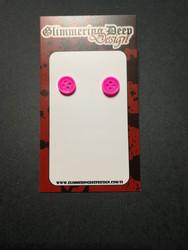 Magenta Button Stud Earrings