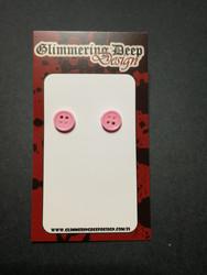 Light-pink button stud earrings