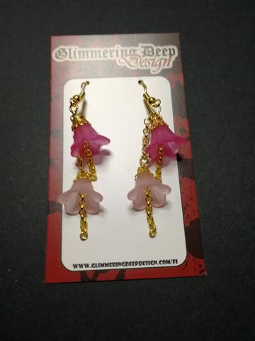Umbella line small pink bell earrings