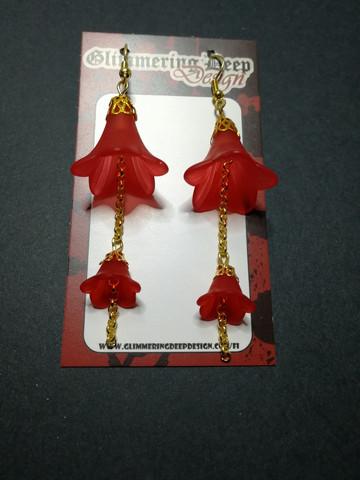 Umbella line red bell earrings