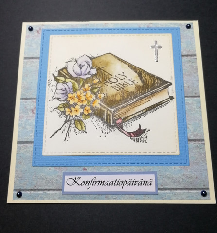 Confirmation card blue bible