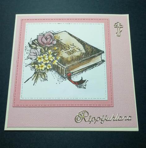 Confirmation card pink bible.