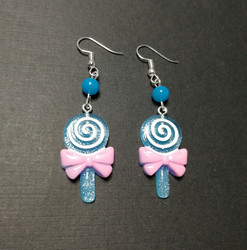 Blue lollipop earrings with blue beads
