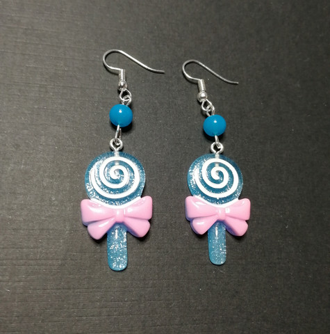 Blue lollipop earrings with blue beads
