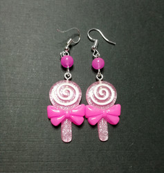 Pink lollipop earrings with pink beads