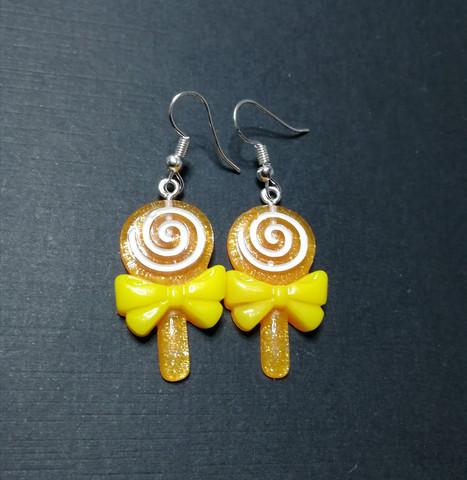 Orange lollipop earrings