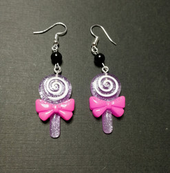 Violet lollipop earrings with black beads